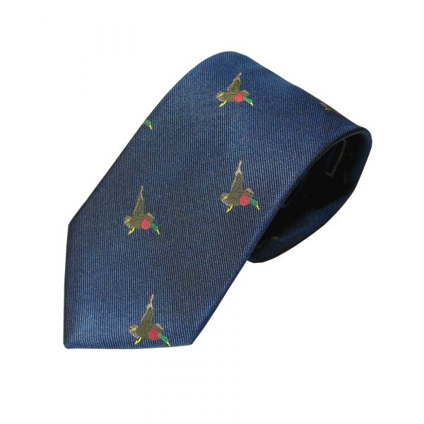 Woven Silk Tie in Navy with Flying Ducks