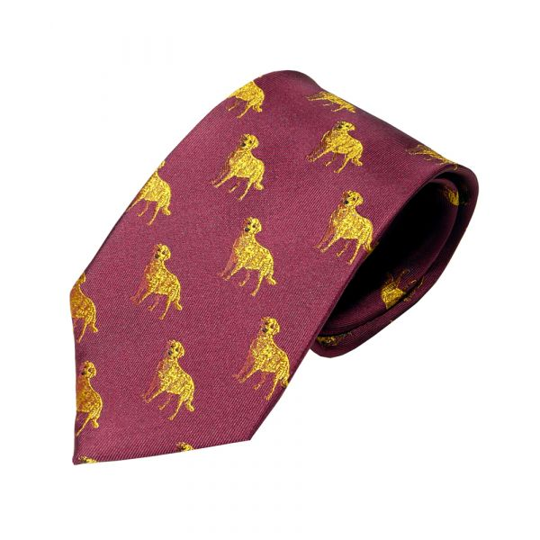 Woven Silk Tie in Wine with Labradors