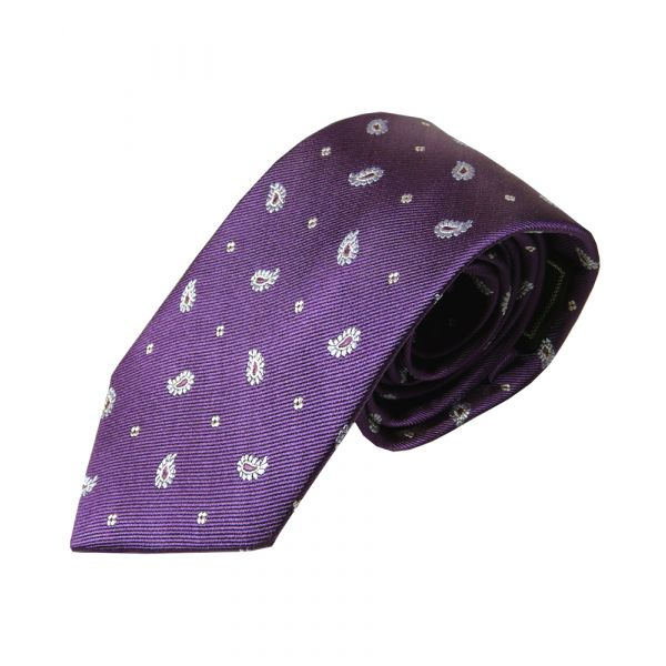 Aubergene Silk Tie with Sky Paisley Design
