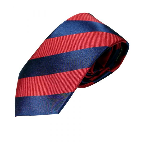 Navy and Red Stripe Silk Tie