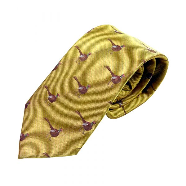Standing Pheasant on Country Gold Silk Tie from Woods of Shropshire
