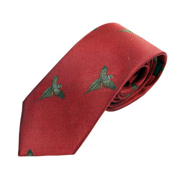 Red with Soaring Pheasants Country Silk Tie from Woods of Shropshire