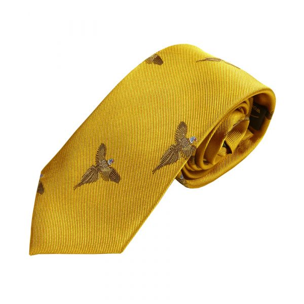 Gold with Soaring Pheasants Country Silk Tie from Woods of Shropshire