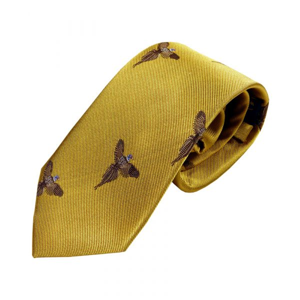 Mustard with Soaring Pheasants Country Silk Tie from Woods of Shropshire