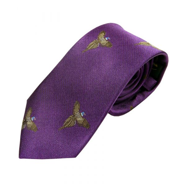 Purple with Soaring Pheasants Country Silk Tie from Woods of Shropshire