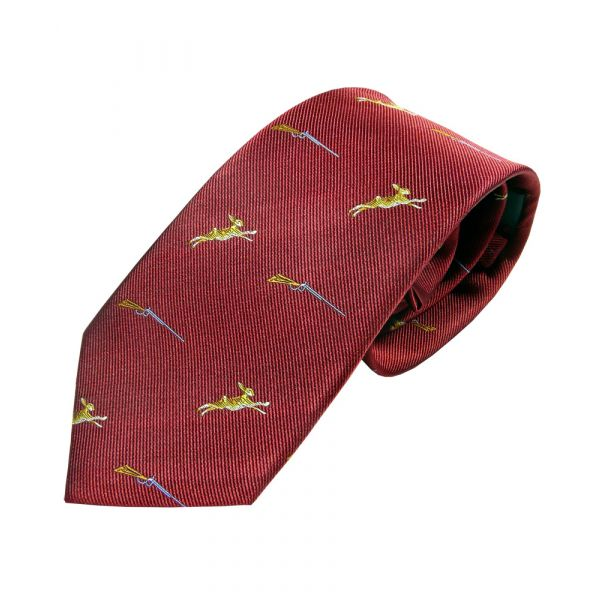 Red with Hares and Guns Country Silk Tie from Woods of Shropshire