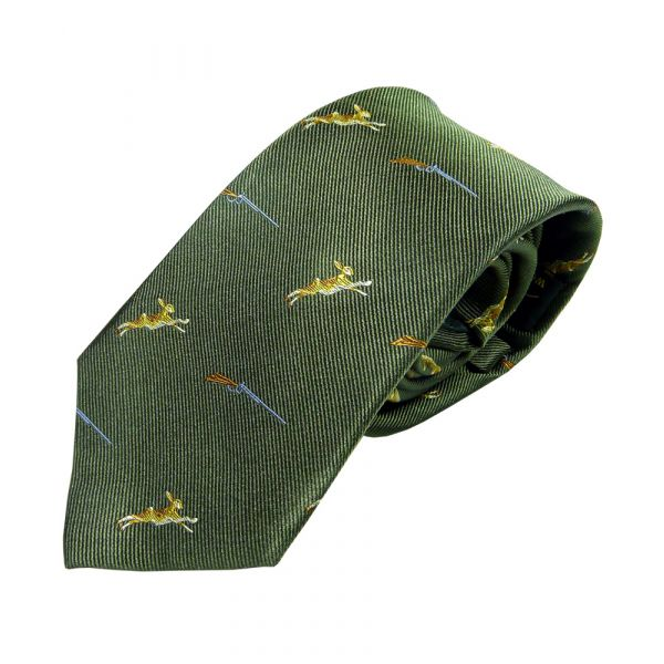 Green with Hares and Guns Country Silk Tie from Woods of Shropshire