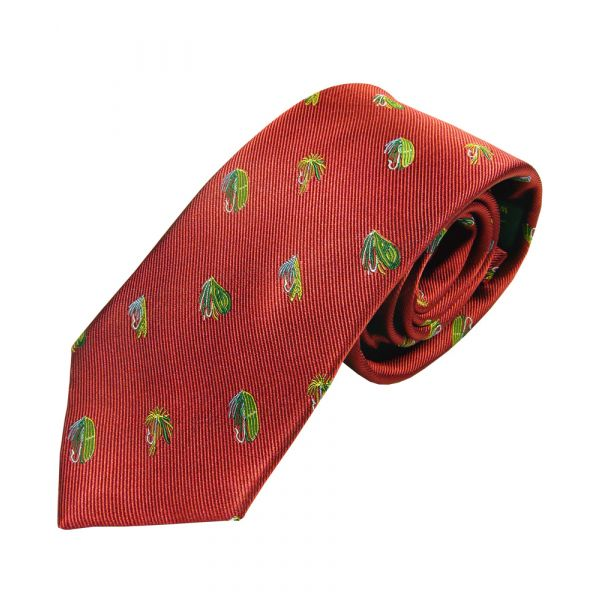 Red with Multi Fishing Flies Country Silk Tie from Woods of Shropshire
