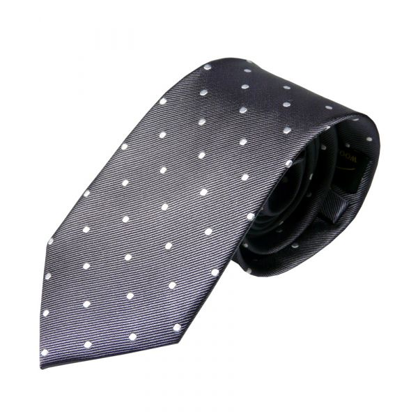 Dark Grey with White Spots Silk Tie from Woods of Shropshire