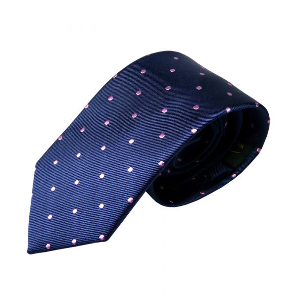 Navy with Pink Spots Silk Tie from Woods of Shropshire