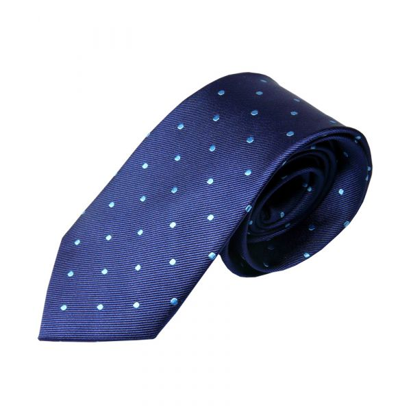Navy with Turquoise Spots Silk Tie from Woods of Shropshire