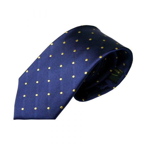 Navy with Yellow Spots Silk Tie from Woods of Shropshire