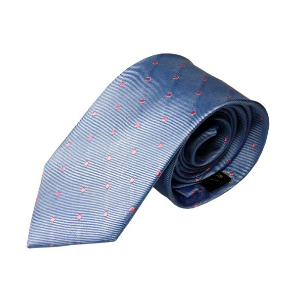 Light Blue with Pink Spots Silk Tie from Woods of Shropshire