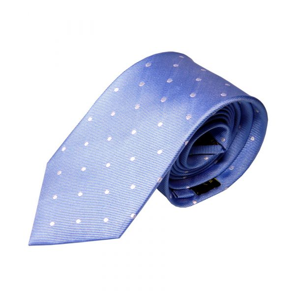 Light Blue with White Spots Silk Tie from Woods of Shropshire