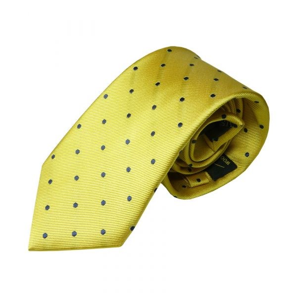 Yellow with Dark Navy Spots Silk Tie from Woods of Shropshire