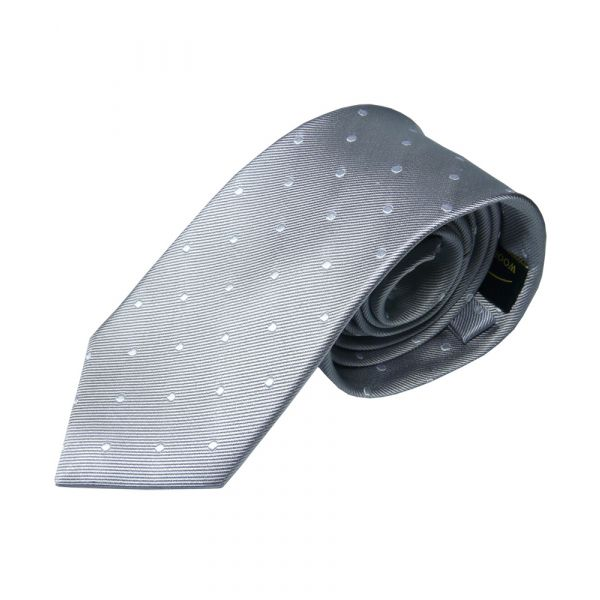 Light Silver Grey with White Spots Silk Tie from Woods of Shropshire