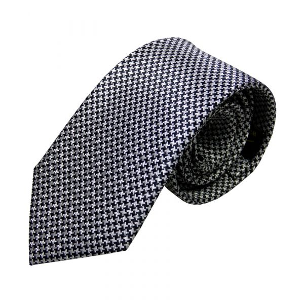 Black and White Small Dogtooth Design Silk Tie from Woods of Shropshire