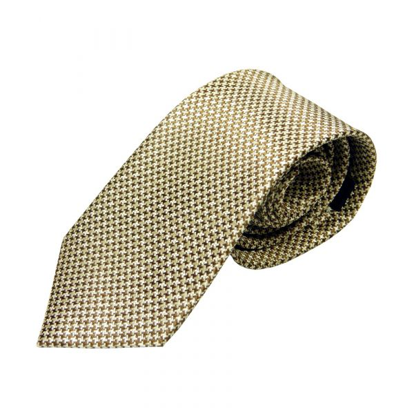 Gold and White Small Dogtooth Design Silk Tie from Woods of Shropshire