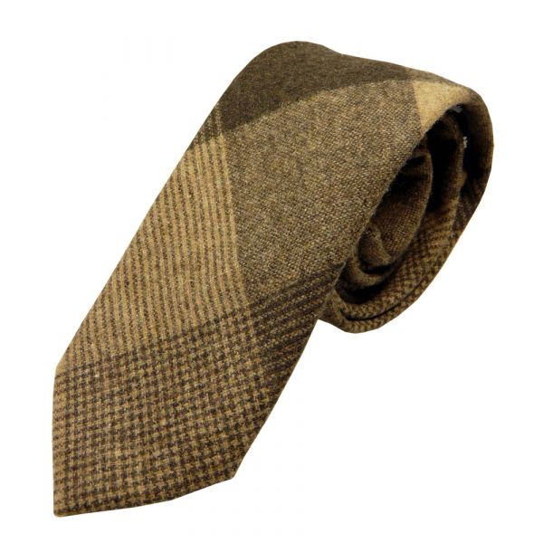 Brown and Sand Bold Check Wool Tie from Knightsbridge Neckwear