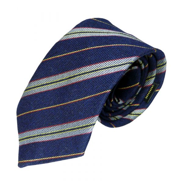 Navy and Grey Stripe with Yellow Centre Tie from P L Sells