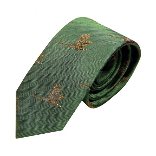 Luxury Silk Tie in Forest Green with Flying Pheasant Motif from Van Buck