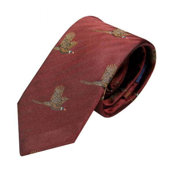 Luxury Silk Tie in Wine with Flying Pheasant Motif from Van Buck