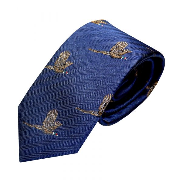 Luxury Silk Tie in Navy with Flying Pheasant Motif from Van Buck