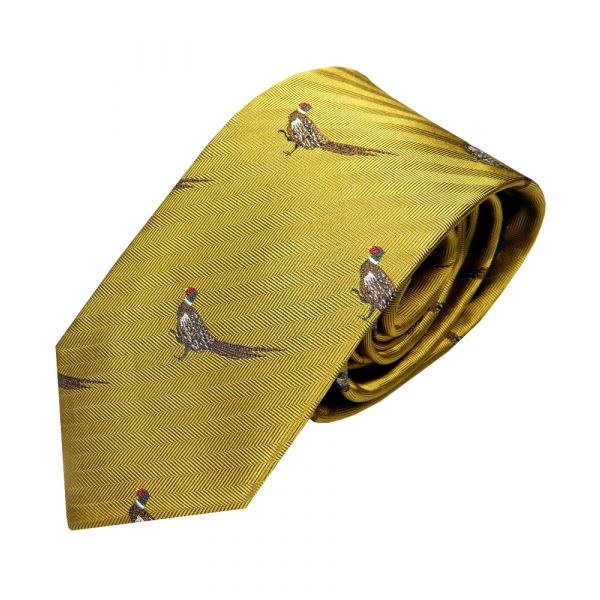 Luxury Silk Tie in Old Gold with Standing Pheasant Motif from Van Buck