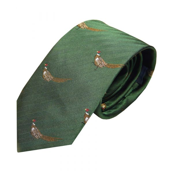 Luxury Silk Tie in Forest Green with Standing Pheasant Motif from Van Buck