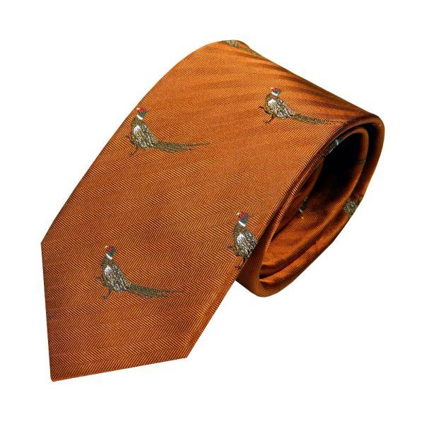Luxury Silk Tie in Burnt Ochre with Standing Pheasant Motif from Van Buck