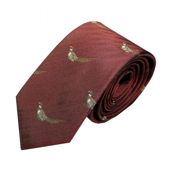 Luxury Silk Tie in Wine with Standing Pheasant Motif from Van Buck