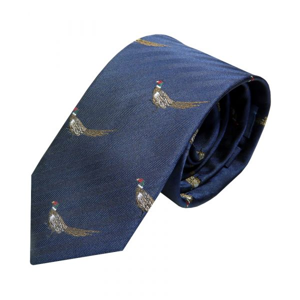 Luxury Silk Tie in Navy with Standing Pheasant Motif from Van Buck