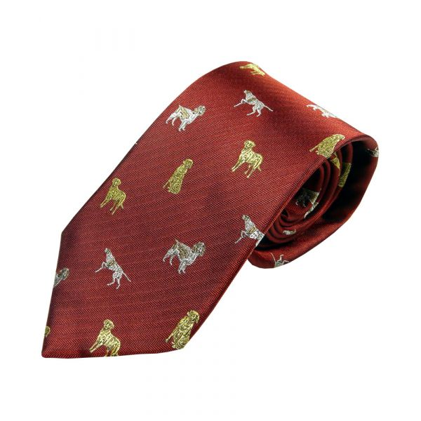 Deep Red with Gundogs Country Silk Tie from Woods of Shropshire