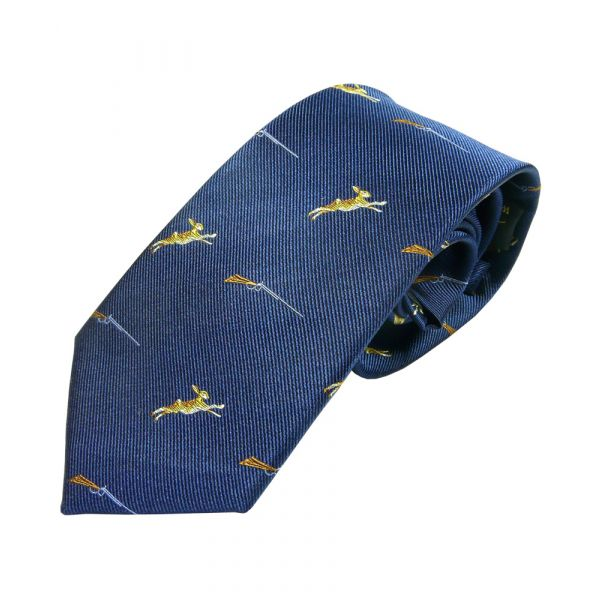 Navy with Hares and Guns Country Silk Tie from Woods of Shropshire