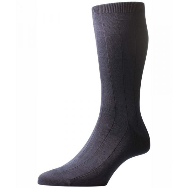 Pantherella Socks - Dorrington - Mens - Charcoal - Plain - Cotton Blend - Half Calf - Short