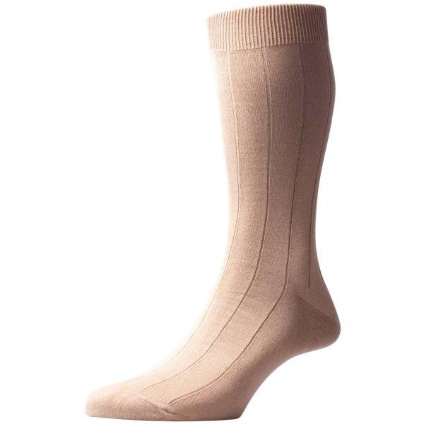 Pantherella Socks - Dorrington - Mens - Beige - Plain - Cotton Blend - Half Calf - Short