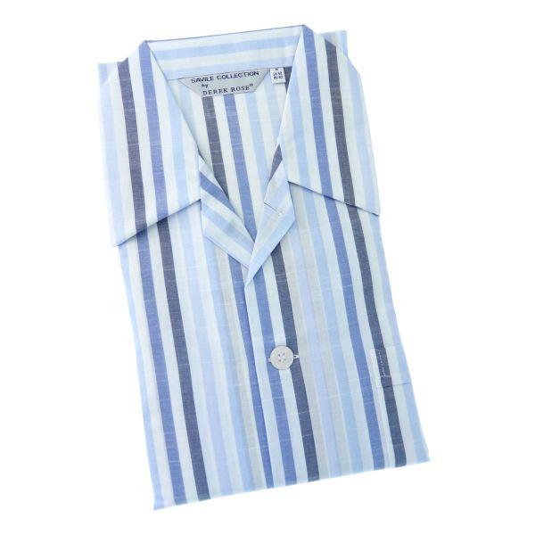 Derek Rose - Park 5 Blue - Mens Cotton Pyjamas in Blues and White Stripe - Tie Waist