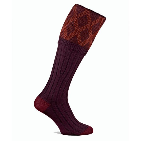 Pennine Socks - Burlington Merino Wool Shooting Sock in Deep Plum