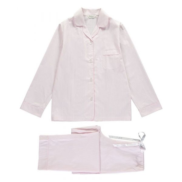Ladies Pyjamas in Fine Pink Stripe  from Bonsoir of London
