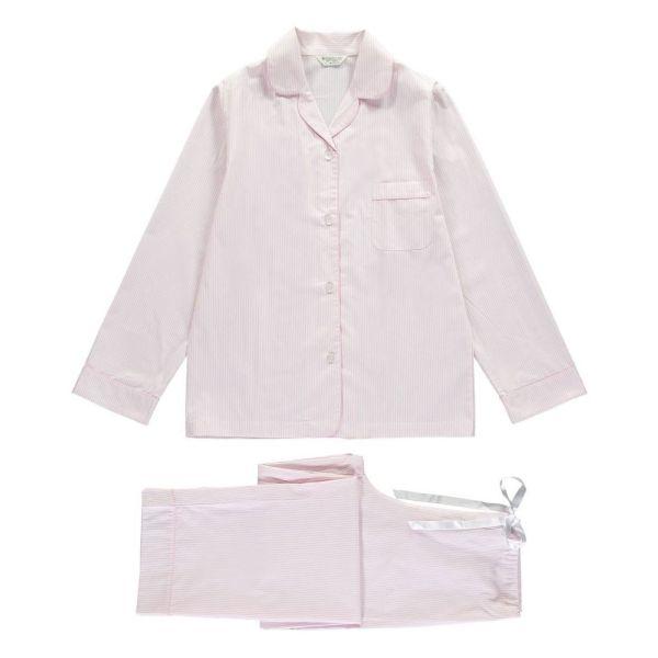 Ladies Pyjamas in Fine Pink Stripe  from Bonsoir of London