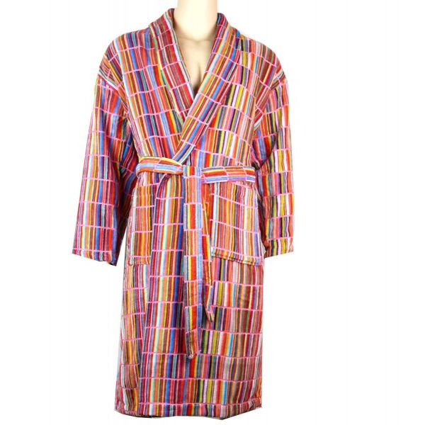 linenHall - Mens Cotton Velour Gown - Criss Cross Multi Design