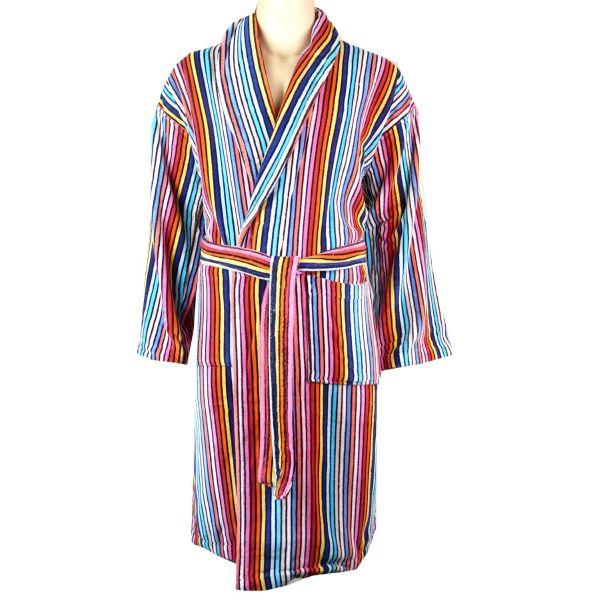 linenHall - Mens Cotton Velour Gown - Rainbow Stripe