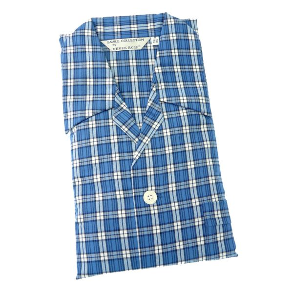 Derek Rose - Ranga 32 - Mens Brushed Cotton Pyjamas in Blue Check - Tie Waist