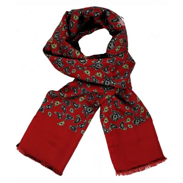 Mens Silk Scarf in Red Paisley Design - Wool Backed
