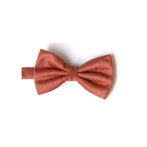 Salmon Polyester Shantung Men's Bow Tie
