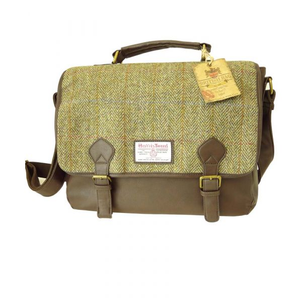 Green Harris Tweed Soft Briefcase
