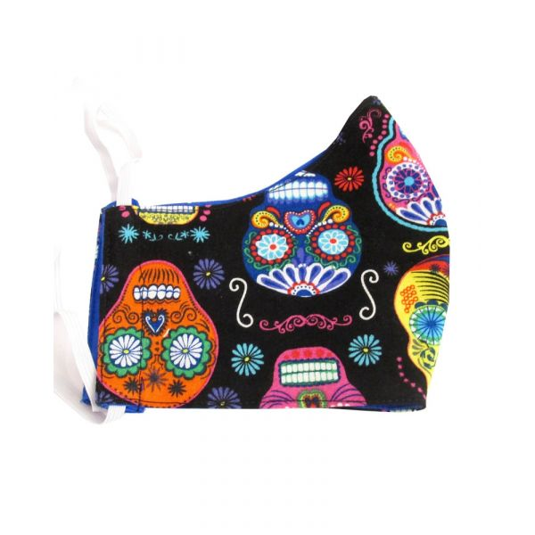 Shaped Reusable Face Mask - Multi Colour Skulls Design from Van Buck