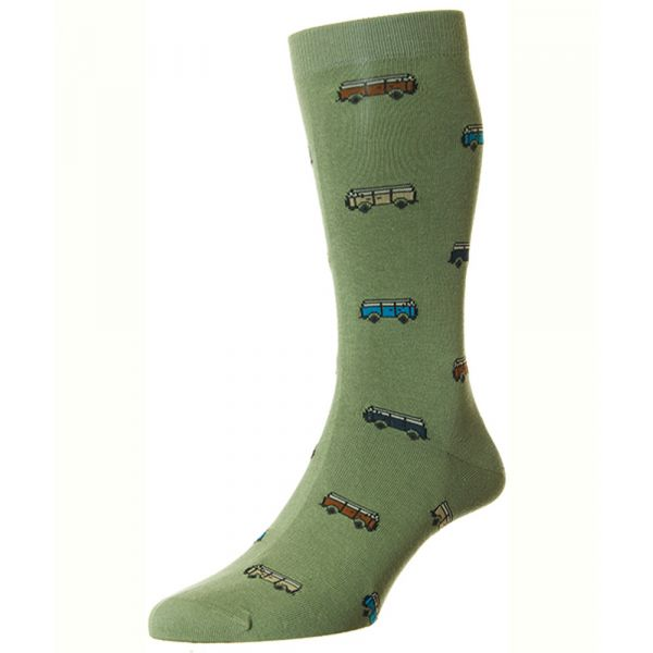 Khaki with an All Over Campervan Design Cotton Socks from Scott Nichol