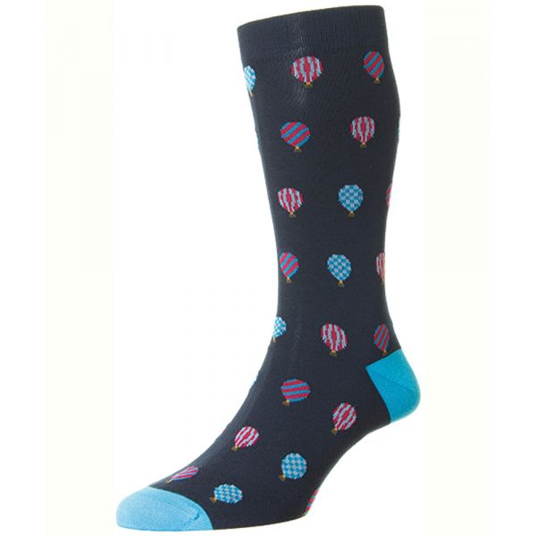 Navy with an All Over Hot Air Balloon Design Cotton Socks from Scott Nichol