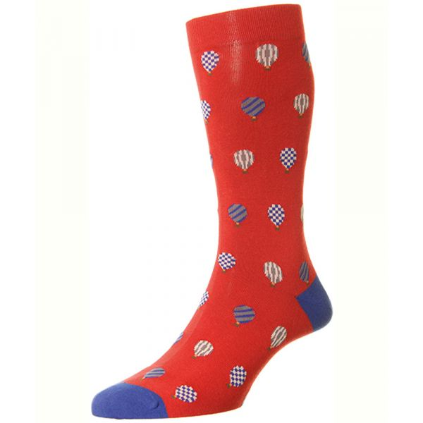 Red with an All Over Hot Air Balloon Design Cotton Socks from Scott Nichol